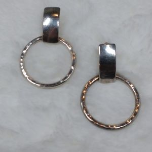 Sterling Silver 925 Door Knocker Hammered Earrings